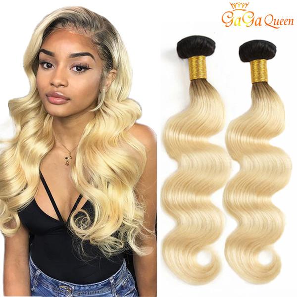 "Gaga queen 1B/613 Body Wave Virgin Brazilian ombre Hair Bundles 10"" To 24"" 100% Human Hair Extensions"