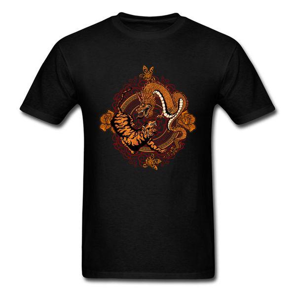dragon tiger Pure Cotton Tops Shirts for Men Slim Fit T Shirt Funny Cheap Crewneck Tee-Shirts Short Sleeve Drop Shipping