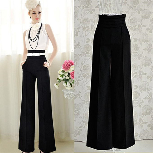 2016 Hot Sale Loose Zipper Fly Solid Pantalones New Women Casual High Waist Flare Wide Leg Long Pants Palazzo Trousers Y1891705