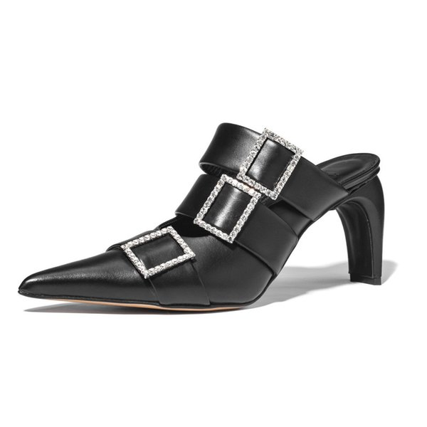 Autumm crystal square buckle women mules heels fashion pointy toe genuine leather woman slippers rome ladies shoes