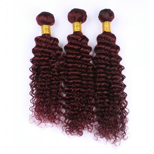 Wine Red 99J Deep Wave Hair Weft Extension 10-30 Inch Burgundy Deep Wave Curly Brazilian Virgin Human Hair Weaves 3Pcs Lot