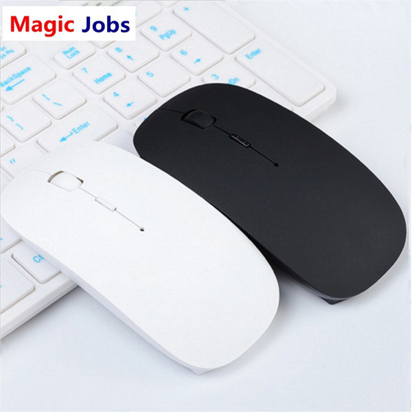 Magic_jobs Ultra Thin USB Optical Wireless Mouse 2.4G Receiver Super Slim Mouse For Computer PC Laptop Desktop black Candy color