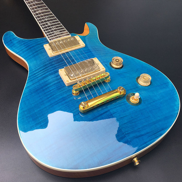 PS electric guitar,Mahogany body With Flamed Maple Top,Blue light paint,Golden hardware,free shipping!