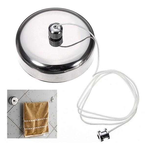 Vente en gros 1 PCS couleur argent en acier inoxydable ronde corde à linge dispositif hôtel rétractable réglable Accueil Accueil