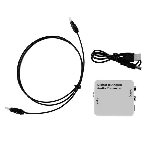 Freeshipping White Compact Digital Optical Toslink Coax to Analog R/L/RCA Audio Signal Converter Adapter with USB Power Cable Fiber Cable