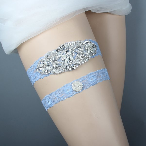 Bridal Garters for Bride Blue Lace Wedding Garters Sexy Real Picture Pearls Glass Crystals Handmade Cheap Wedding Leg Garters