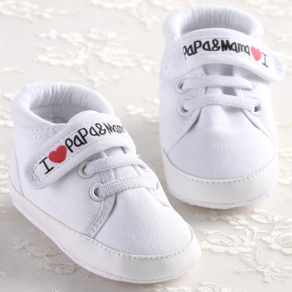Canvas Baby Crib Shoes I Love Papa & Mama Baby First Walkers Brand Non-slip Newborn Boy Sneakers Infant Girl Sports Shoes