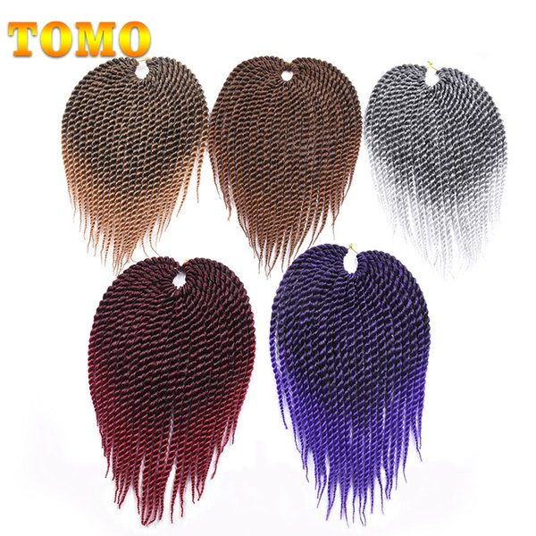 """top popular TOMO 12"""" Short Senegalese Twist Braids For Black White Women And Kids 22 Strands pack Crochet Braids Synthetic Braiding Hair Extensions 2020"""