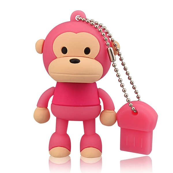 Pink Cartoon Monkey Design 8GB 16GB 32GB 64G USB Flash Drives Thumb Pen Drives USB 2.0 Memory Stick for Computer Laptop Tablet Pen Storage