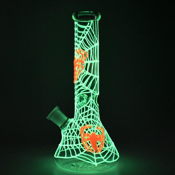 Стекло Вода Bongs Glow In The Dark Beaker Бонг паук Веб-дизайн Dab Рог Вода курительные трубки 18.8mm Женщина с миской