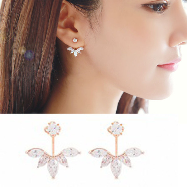 Japan and South Korea new S925 sterling silver pin earrings European and American post hanging zircon droplets hypoallergenic detachable