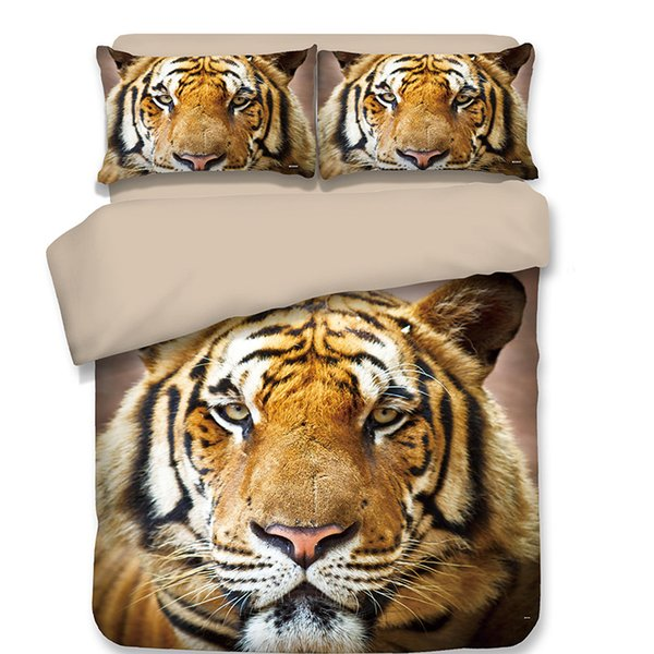 Free shipping Novelty Gift cool animal tiger pattern bedding set duvet Quilt Cover with 2 pillowcase Twin full Queen King size