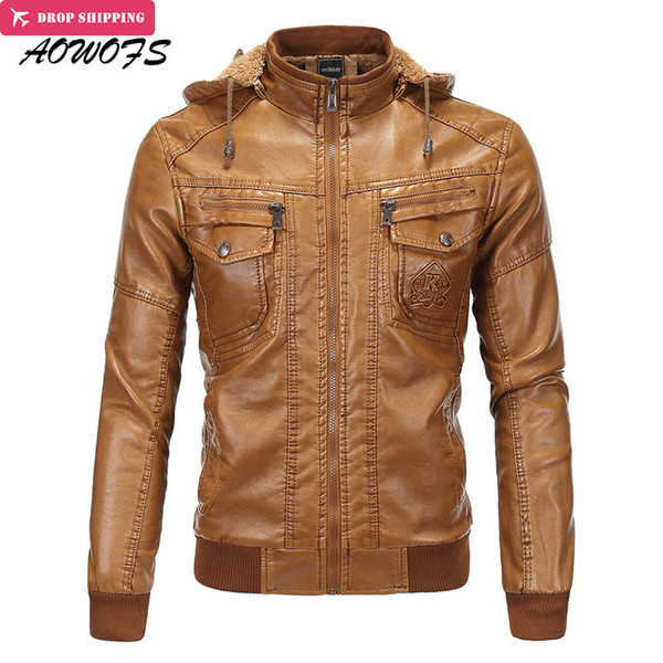 Wholesale- AOWOFS Winter Mens Brown Leather Bomber Jackets Hooded Warm Faux Sheepskin Motorcycle Chaqueta Men Quilted Leather Coats with Ha