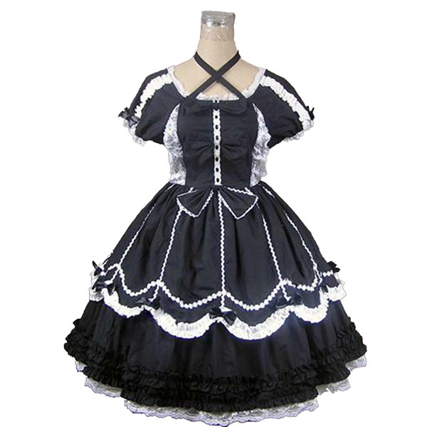 Customized 2018 Gothic Victorian Lolita Party Dress Summer Short Sleeve White Lace Women Cosplay Ball Gowns For Halloween