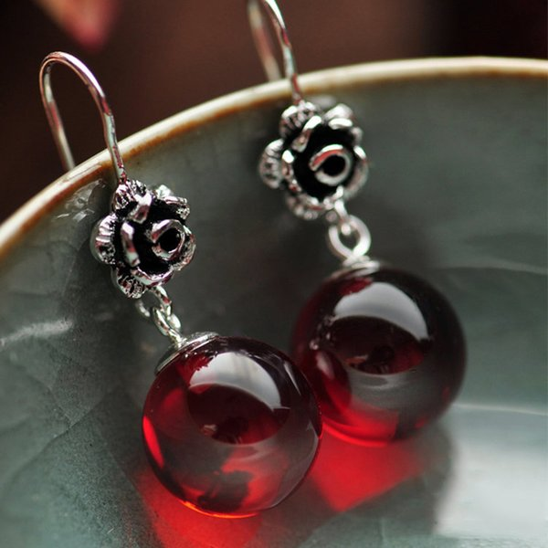 Real 925 Sterling Silver Jewelry Natural Stone Earrings for Women Red Garnet and White Opal Retro Beautiful Rose Flower Carved C18111901