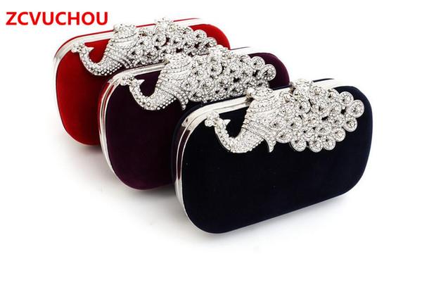 Großhandelsluxusdiamantpfaufrauen-Handtaschen-Samtrhinestones-Abendbeutel für das Heiraten der Brautparteigeldbörse mit Ketten
