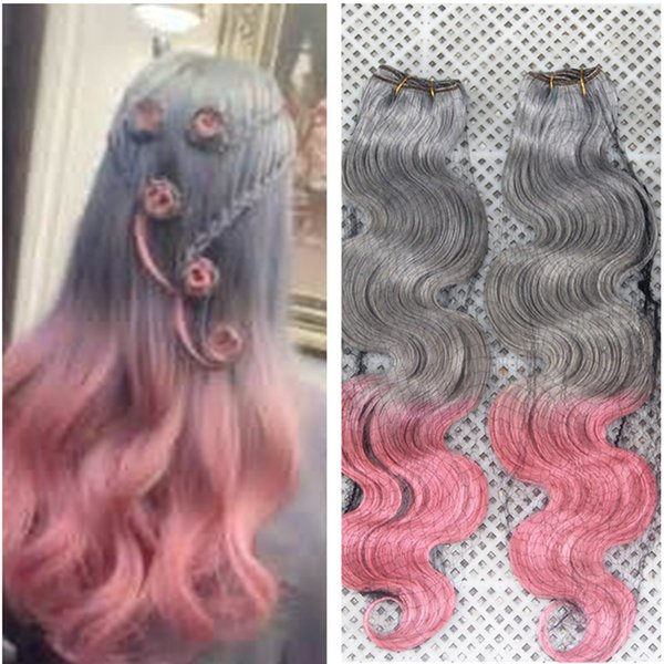 Grey Pink Two Tone Hair 3 Bundle Deals Malaysian Virgin Human Hair Extension Gray Pink Ombre Body Wave Hair Weft For Sale