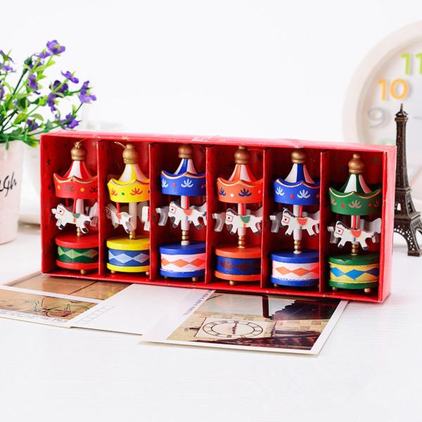 6 Unids / set Feliz Navidad De Madera Carrusel Adornos de Caballos Juguetes de Regalo de Los Niños Colgante de Navidad En Casa Decorar # 253743