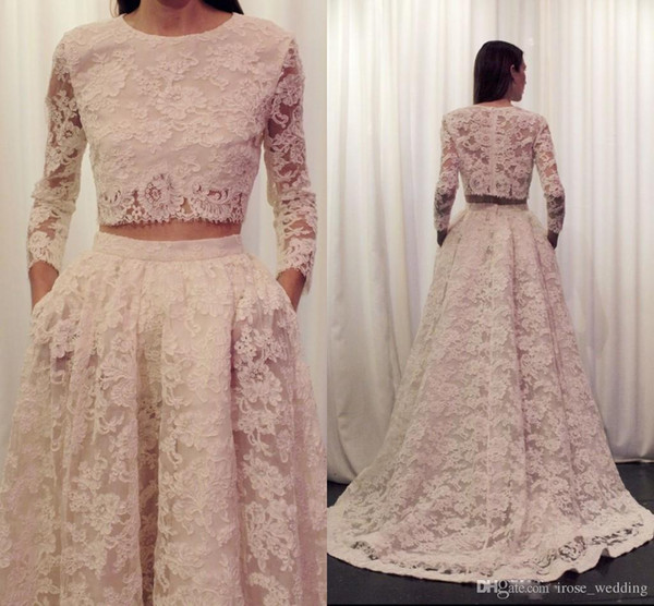 Champagne Two Piece Full Lace Prom Dresses A-Line Jewel Lace Appliques Illusion Long Sleeve Sweep Train Evening Party Gowns with Pockets