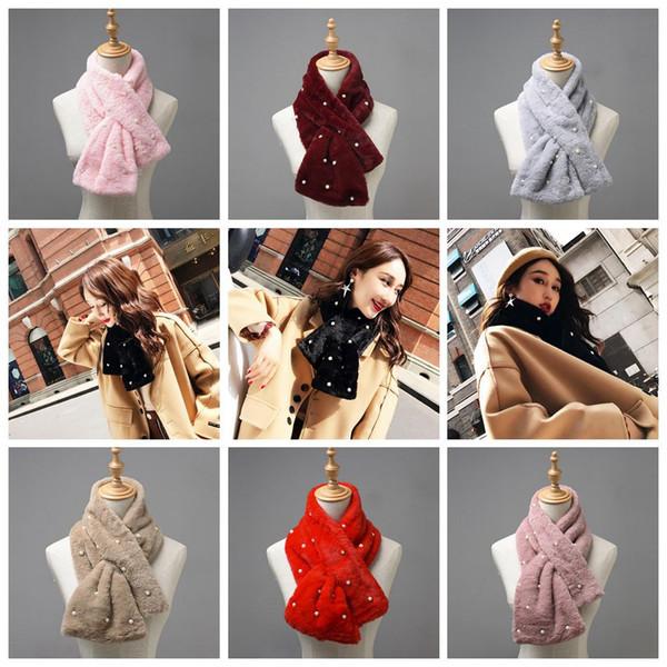 Woman Winter Scarf Faux Fur Imitation Rex Rabbit Fur Scarves Warm Fluffy Thick Cross Shawl Neck Scarf Fake Fur Collar 7 Color 50pcs OOA4371