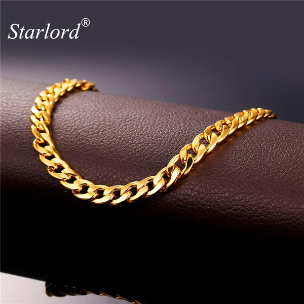 anklet Starlord Foot Jewelry Ankle For Women Gold Color Cuban Link Chain Anklet Bracelet On A Leg Barefoot Sandals A755