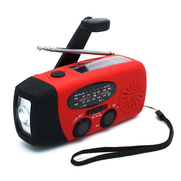 Auto da manivela da emergência psto rádio AM / FM solar do tempo com lanterna elétrica do diodo emissor de luz, banco do poder 1000mAh para o iPhone / telefone esperto