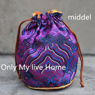 Seawater Round Bottom Drawstring Bucket Bag Chinese Silk Jewelry Pouches Brocade Fabric Bracelet Gift Bag Pouch 8.5x12 cm 10pcs/lot