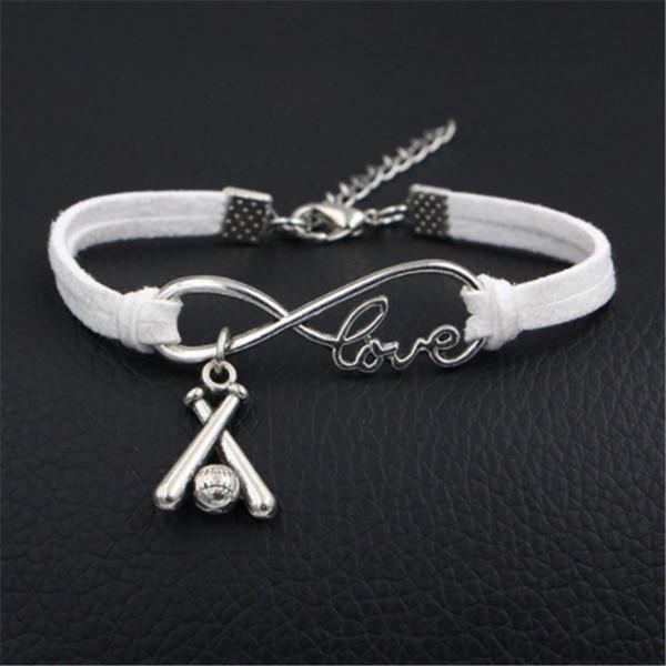 AFSHOR Brand New Design Fashion Infinity Love Baseball Jewelry Sweet Korean Handmade DIY Genuine White Leather Bracelet Bangle For Women Men