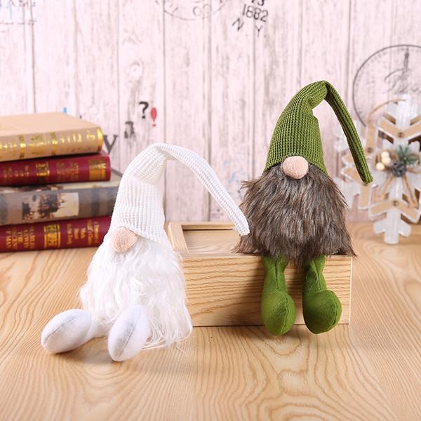 Accrocher la jambe Noël Rudolph Figurines À La Main De Noël Gnome Faceless En Peluche Poupée pour Ornements Cadeaux Enfants De Noël Décoration