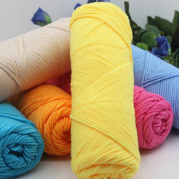 Comercio al por mayor 50 g / pcs hilo de algodón de seda suave natural de la leche hilo grueso para tejer lana de bebé hilo de ganchillo hilo de la armadura