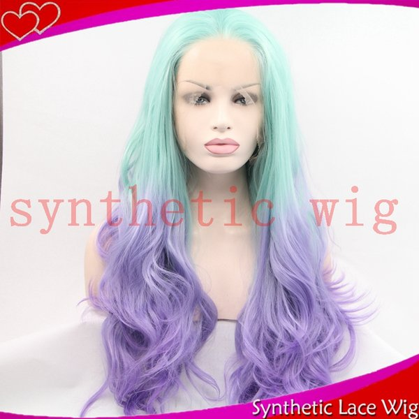light blue ombre light purple long wavy synthetic synthetic front lace wig free part 26in real hair
