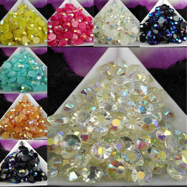 top popular 1000pcs bag SS30 6mm 8Color Jelly AB Resin Crystal Rhinestones FlatBack Super Glitter Nail Art Strass Wedding Decoration Beads Non HotFix 01 2021