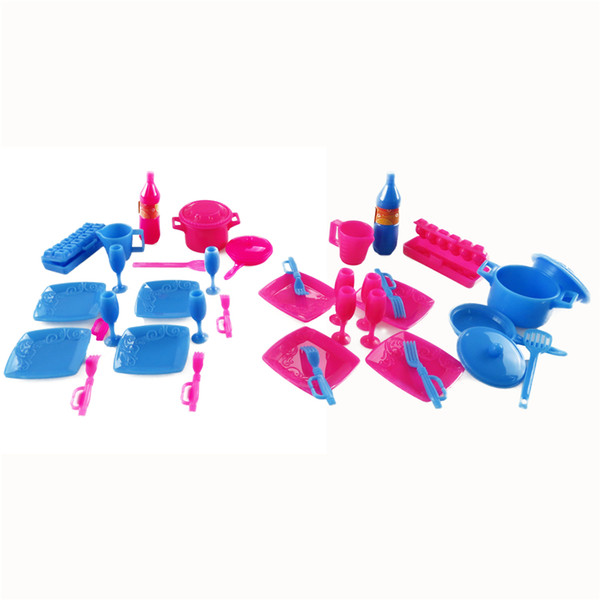 18 Pcs/set Mini Plastic Simulation tableware Kitchen pots and pans dishes glasses cutlery Doll Accessories For Barbie Dolls