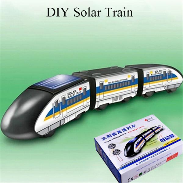 Criativo diy solar trem de brinquedo de energia solar brinquedo para crianças crianças educacional gadget truque novidade car toys presentes