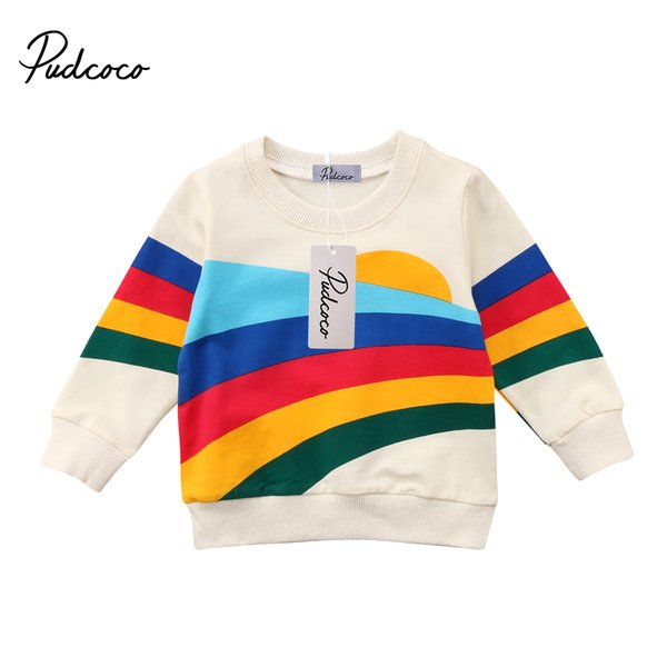 Pudcoco Baby Girls Kids Casual Long Sleeve Hoodies Clothes Rainbow Striped O-Neck Pullover Sweatshirt Tops