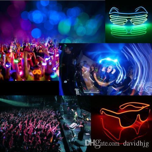LED glasses El Wire Fashion Neon LED Light Up Shutter Shaped Glow Sun Glasses Rave Costume Party DJ Bright SunGlasses
