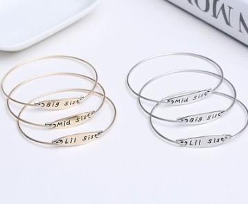 Новое прибытие 3 шт. женщины мода ювелирные изделия Lil Mid Большая Сестра браслеты звено цепи любовник подарок Chiristmas День Святого Валентина