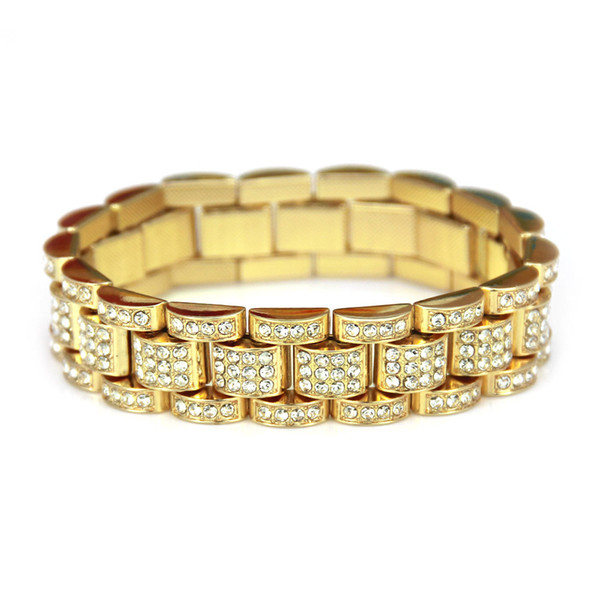 Gold Fully Iced Out Hip Hop CZ Bracelet Mens Miami Cuban bracelet Men's Luxury Simulated Bling Rhinestones Fashion Bangles 2018 hot sale