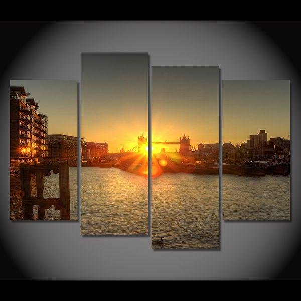 Tela Pittura 4 Pezzo Canvas Art London Dawn River Dock Bridge HD Stampato Home Decor Wall Art Immagine per Soggiorno XA023A