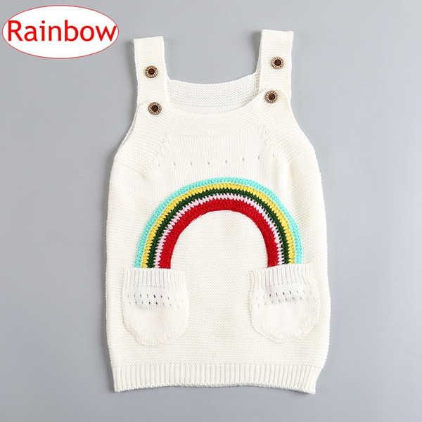 best selling INS Children Girls Rainbow cotton Dresses Baby Girls Knitted Sweater Suspender Skirt Spring Autumn Kids Clothing 1-4Years free ship