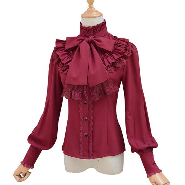 NEW Spring Summer Women Chiffon Tops Lace Bow Ruffles Sweet Lolita Vintage Slim Blouse Female High Collar Western Style Shirts