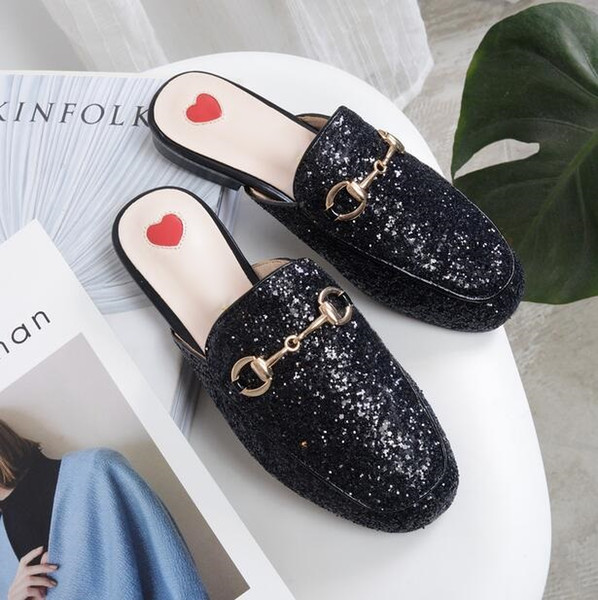 Factory Price Silver Glitter Sequin Flats Gold Bukle Women Slippers Outside Round Toe Flats Slides Cozy Shoes Female Spring Autumn Shoes