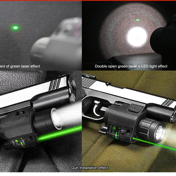 2 en 1 Combo CREE Q5 LED linterna / LUZ 200LM + mira láser verde para pistola / pistola pistola láser Mira láser para pistola