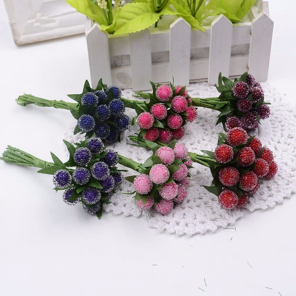 12pcs artificial berry cherry red stamens pearl wedding simulate glass pomegranate wedding home decorations artificial flowers