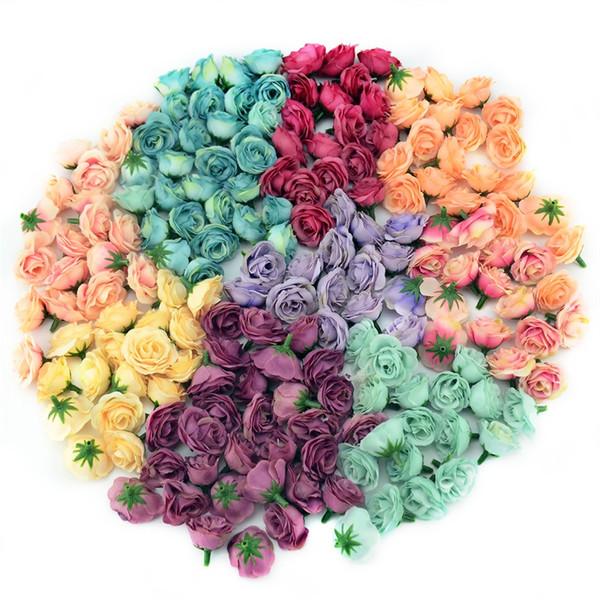 100 unids 3 cm Mini Seda Artificial Rose Flores paño para el banquete de boda decoración de la habitación en casa diy accesorios de vestir flores falsas