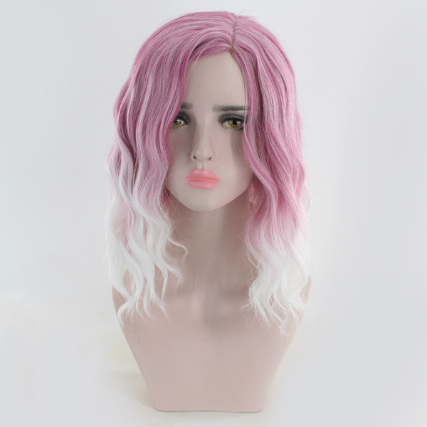 fashion pink purple women's small curly hair wigs women's synthetic wigs hairpieces short deep wave wig