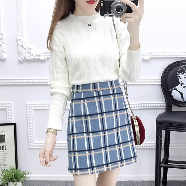 twist pullover sweaters women top knitwear Korean fashion sweater two-piece suit plaid print skirt vestidos lady femme design
