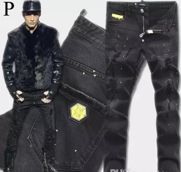 Euro Moda Erkekler Siyah Streç Kot Düzenli Biker Denim Jean Boya Nokta Hasar Slim Fit Sıkıntılı Kovboy Pantolon Adam Sarı Metal Yama