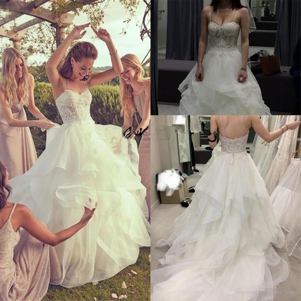 Couche strass organza voir à travers la robe de mariée à volants 2019 dentelle scintillante perlée corsage bretelles spaghetti robe de mariage église de jardin
