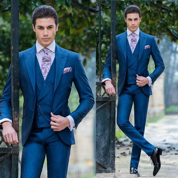 Customized Handsome Mens Suits Three Pieces Slim Fit Groom Tuxedos for Weddings Best Man Suits Top Quality Business Men Suit